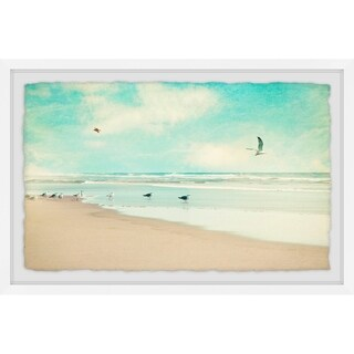 'Morning Beach' Framed Painting Print - Multi-color