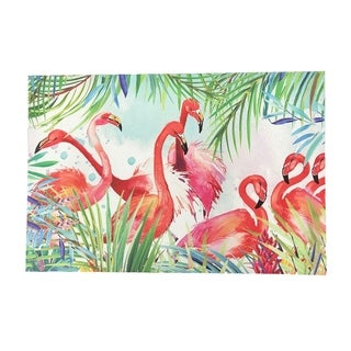 "Creative Motion Horizontal Home Decorative Canvas Paint with Flamingos - 16"" x 23.5"" x 0.6"" - Multi-color"