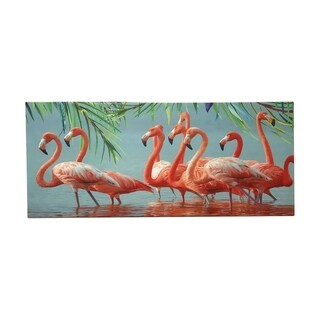 Creative Motion Horizontal Home Decorative Canvas Paint with Flamingos - Multi-color