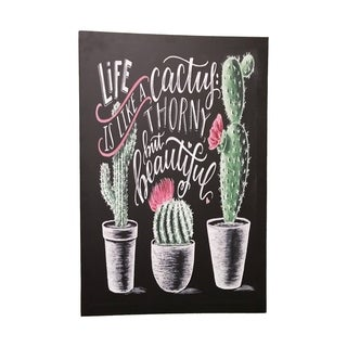 """Creative Motion """"Life Is Like A Cactus: Thorny, But Beautiful"""" Vertical Canvas Paint with Frame - Multi-color"""