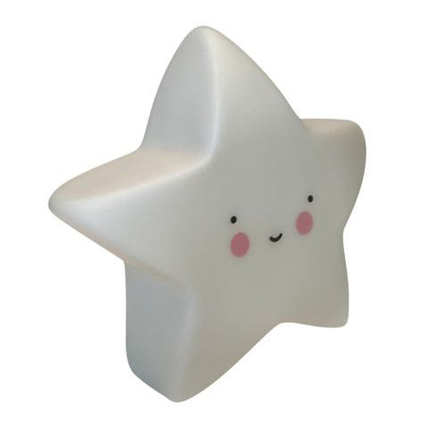 Creative Motion Kids Soft Star Gel Silicon Night Light with 3 Button Batteries - White