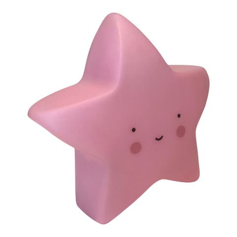 Creative Motion Kids Soft Star Gel Silicon Night Light with 3 Button Batteries - Pink