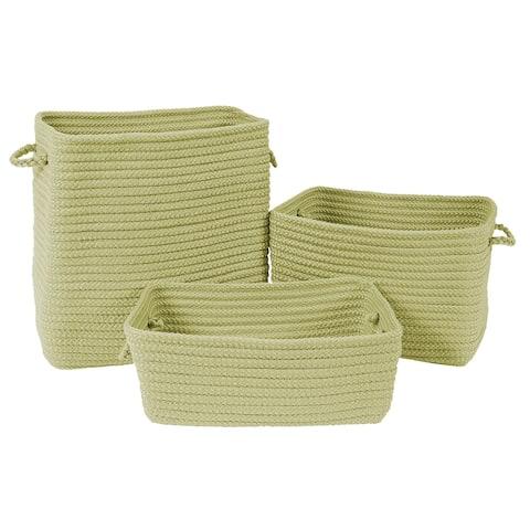 Modern Farmhouse 3-Piece Basket Set - Pale Green