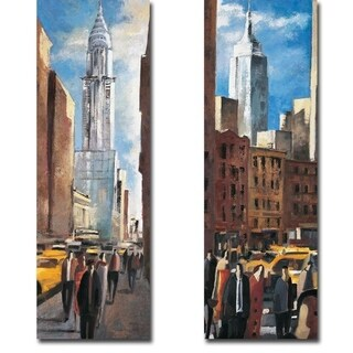 Chrysler & Empire State Building by Didier Lourenco 2-piece Gallery Wrapped Canvas Giclee Art Set (Ready to Hang)