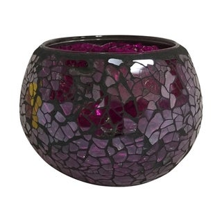 Creative Motion Handmade Purple Glass Mosaic Decorative Candle Holder