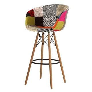 Danish Mid-Century Modern Multicolor Patch Upholstery Bar Stool