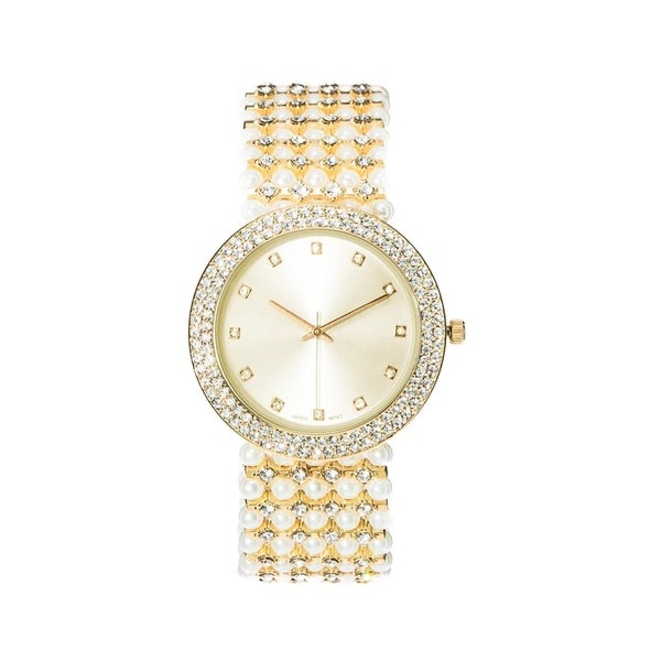 Covet Women's 'Mila' Crystal and Pearl Bead Gold Tone Bracelet Quartz Watch