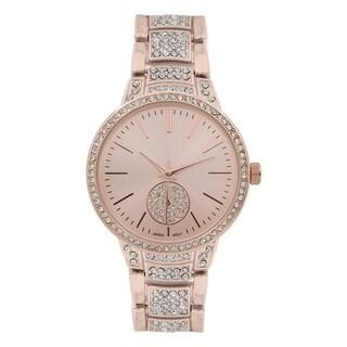 Covet Women's 'Layla' Rose Gold Tone Crystal Bracelet Quartz Watch - One size