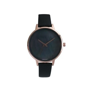 Covet Women's 'Esme' Black Leather Strap with Mother of Pearl Dial Quartz Watch