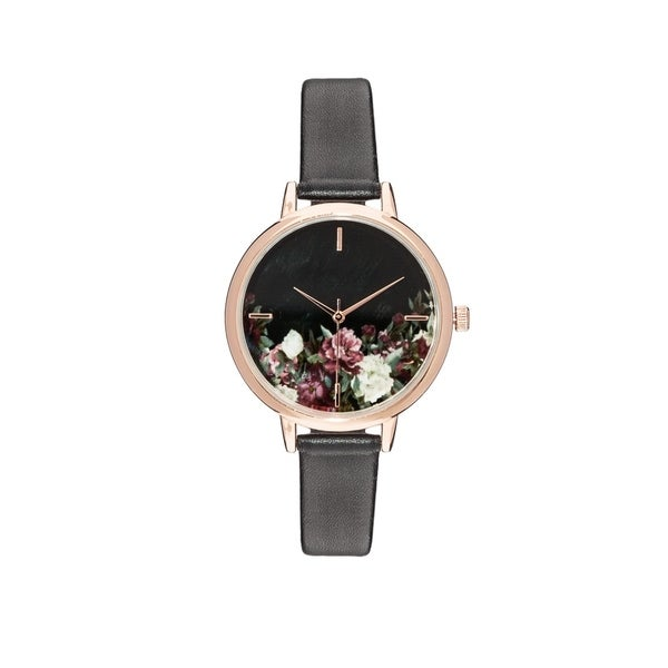 Covet Women's 'Evelyn' Floral Mother of Pearl Dial Black Strap Quartz Watch
