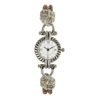 Covet Women's 'Darcie' Brown Western Strap Silver Quartz Watch