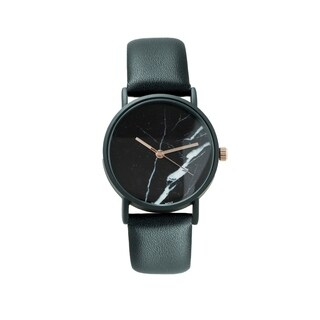 Covet Womens 'Sofia' Black Leather Strap with Black Marble Dial Quartz Watch