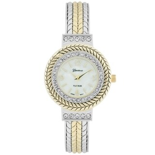 Covet Women's 'Katie' Two Tone Crystal Braided Metal Cuff Quartz Watch