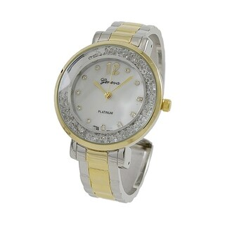 Covet Women's 'Martha' Two Tone Floating Crystals with Mother of Pearl Dial Quartz Cuff Watch