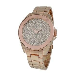Covet Women's 'Bella' Pave Crystal Dial Rose Gold Tone Quartz Bracelet Watch