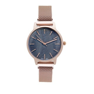 Covet Women's 'Amelia' Rose Gold Tone Magnetic Mesh Strap Quartz Watch