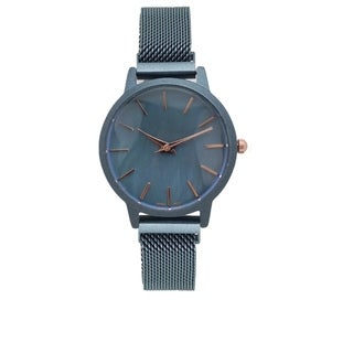 Covet Women's 'Amelia' Blue Magnetic Mesh Strap Quartz Watch