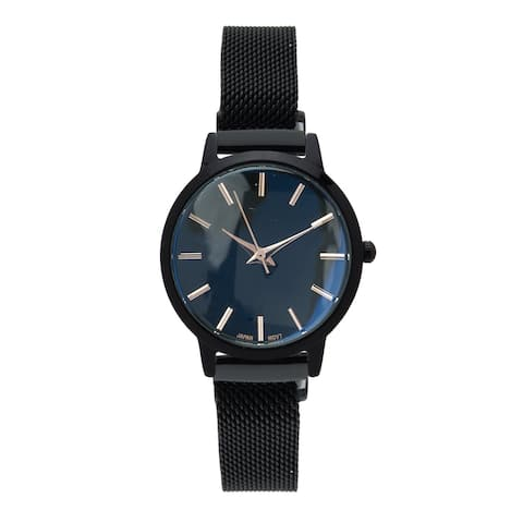 Covet Women's 'Amelia' Black Magnetic Mesh Strap Quartz Watch