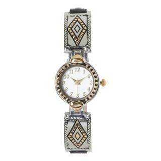 Covet Women's 'Millie' Black Western Strap Two Tone Quartz Watch