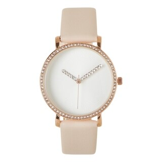 Covet Women's 'Victoria' Swarovski Accented Blush Strap Quartz Watch