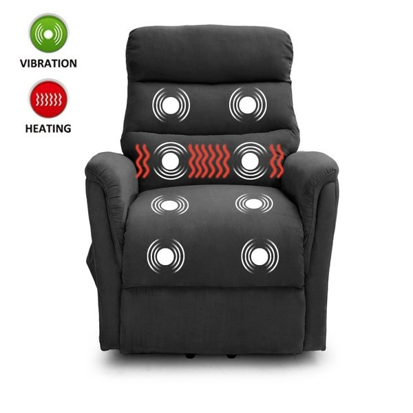 Lifesmart Ultra Comfort Gray Lift Chair with Heat Massage and Remote