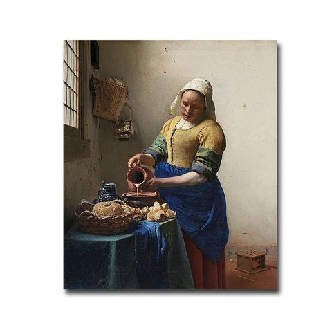 The Milkmaid by Johannes Vermeer Gallery Wrapped Canvas Giclee Art (14 in x 12 in, Ready to Hang)