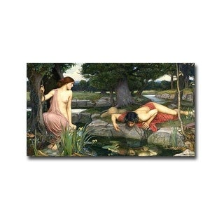 Echo and Narcissus by John Waterhouse Gallery Wrapped Canvas Giclee Art (10 in x 18 in, Ready to Hang)
