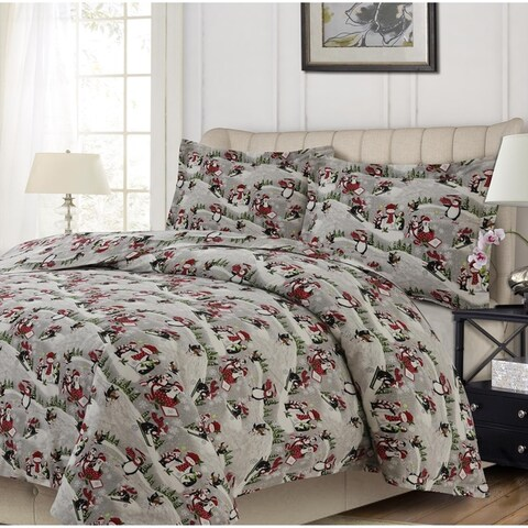 Heavyweight Soft Flannel Solid or Printed Oversized Duvet Cover Set