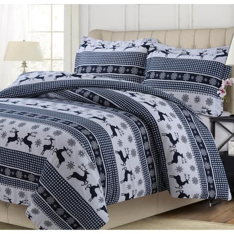 200-GSM Heavyweight Soft Flannel Printed Oversized Duvet Cover Set