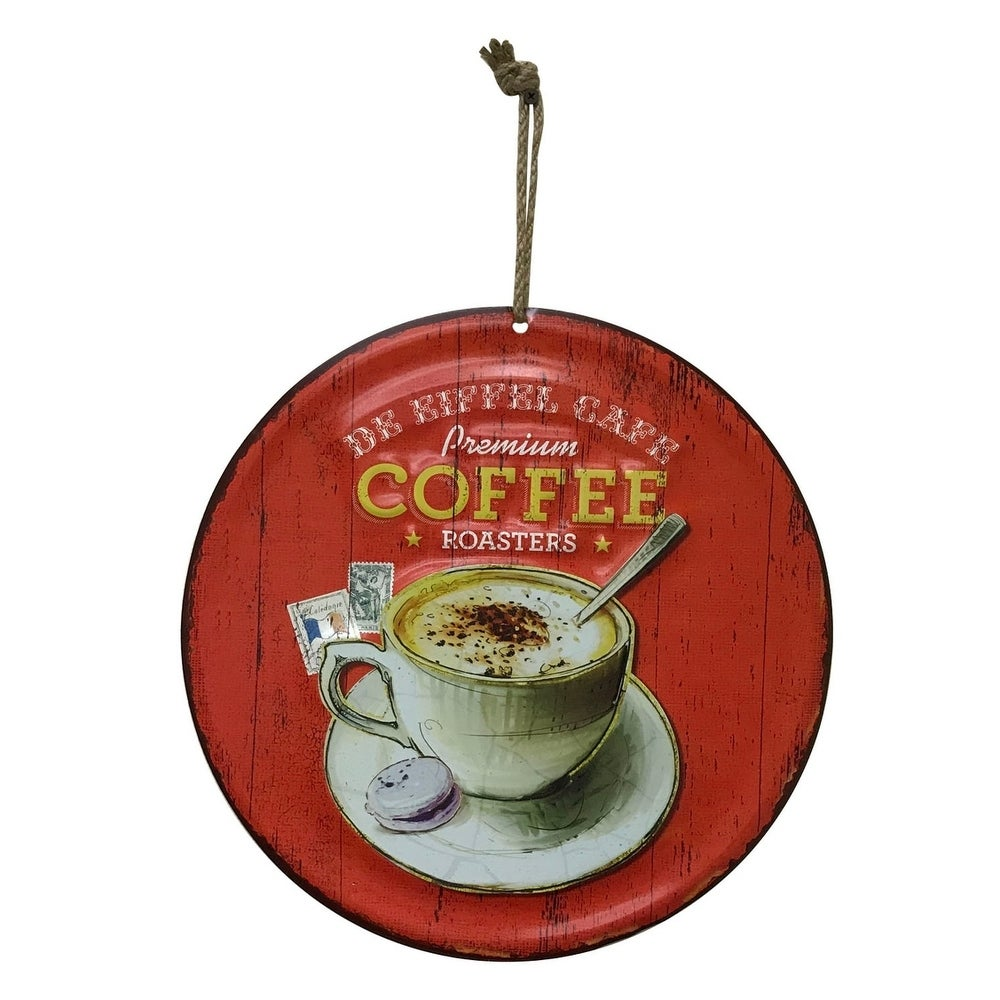 "Creative Motion Round Metal Painted Art with ""Premium Coffee Roasters"""