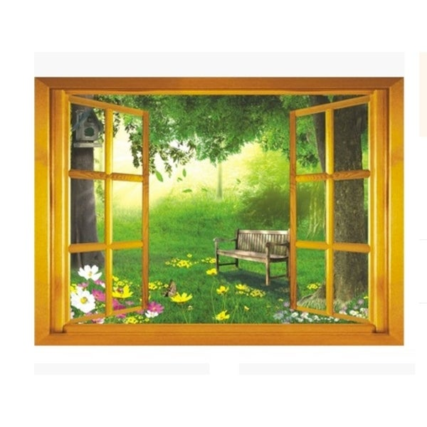 Creative Motion Peel and Stick DIY Decorative Wall Decal with Window View To The Forest