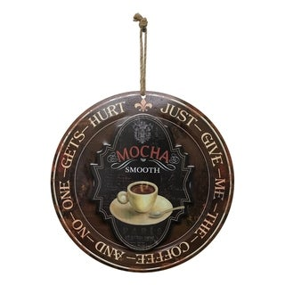 "Creative Motion Round Metal Painted Art with ""Mocha Smooth - Just Give Me The Coffee And No One Gets Hurt"""
