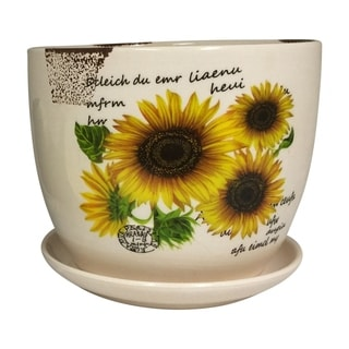 Creative Motion Ceramic Desktop Mini Planter and Attached Saucer with Sunflower Design