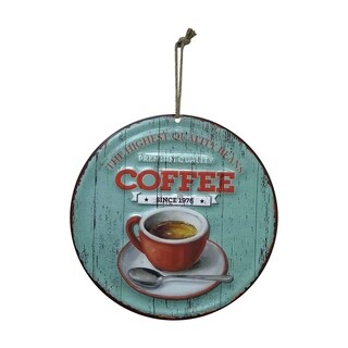 "Creative Motion Round Metal Painted Art with ""Premium Quality Coffee - The Highest Quality Beans"""