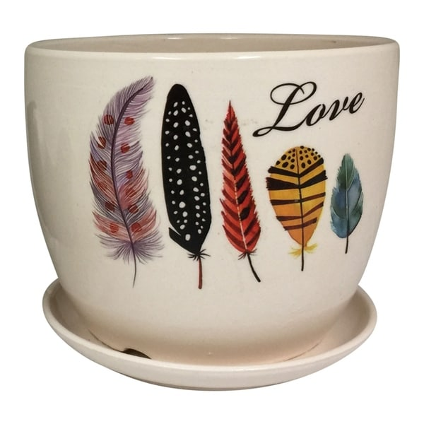 Creative Motion Ceramic Desktop Mini Planter and Attached Saucer with Love Design