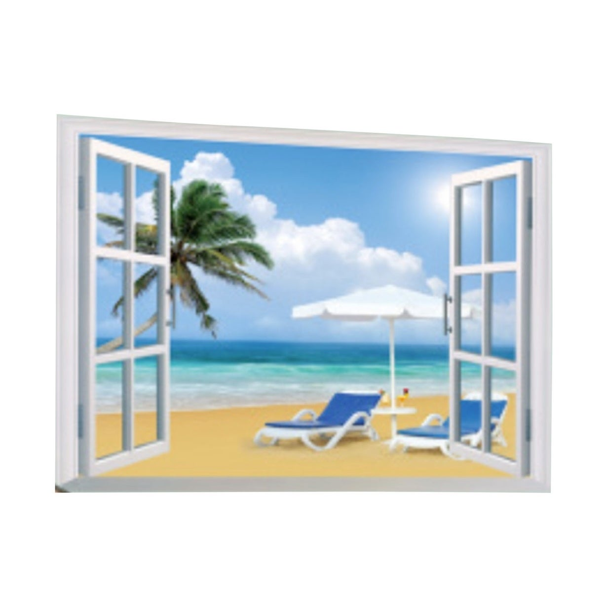 Creative Motion Peel And Stick Diy Decorative Wall Decal With Window View Ocean Beach Palm Tree Beach Chair Fluffy Clouds Sky Overstock 24127459