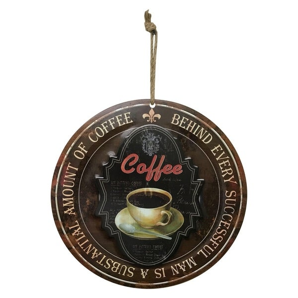 """Creative Motion Round Metal Painted Art with """"Coffee - Behind Every Successful Man Is A Substantial Amout Of Coffee"""""""