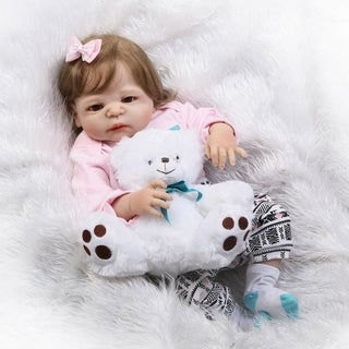 "22"" Toddler Kids Silicone Newborn Reborn Baby Doll w/ Bear"