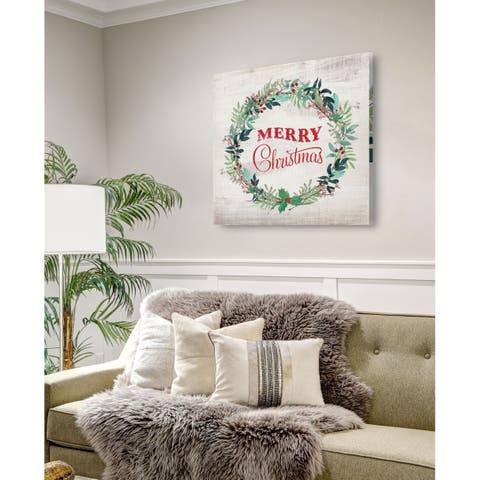 Merry Christmas Wreath -Gallery Wrapped Canvas