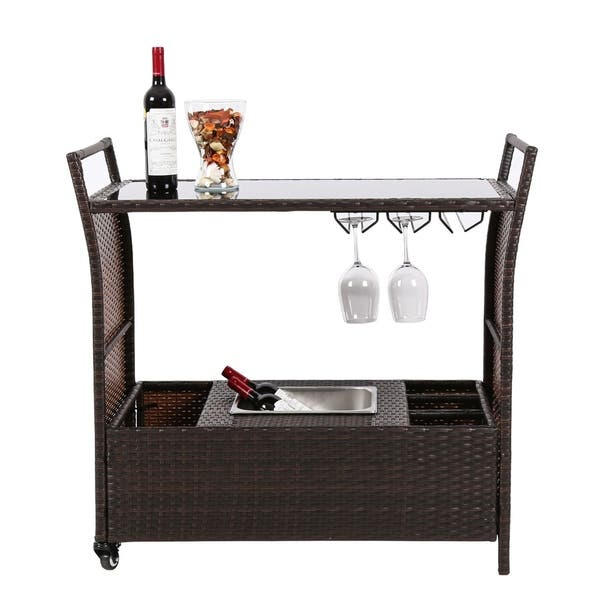 Kinbor Outdoor Wicker Bar Cart Patio Serving W