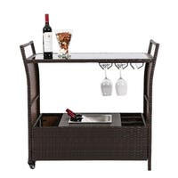 Kinbor Outdoor Wicker Bar Cart Patio Serving Cart w/ Wheels