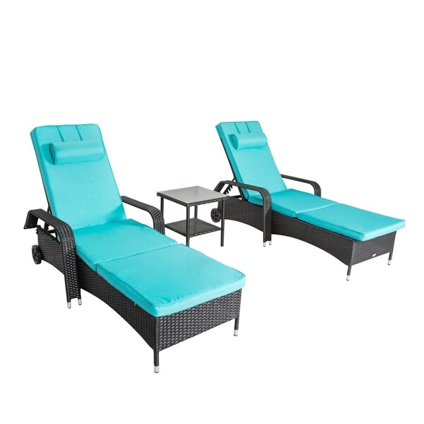 Kinbor 3pcs Outdoor Wicker Chaise Lounge Chair Adjustable Lounger Chair  W/Table