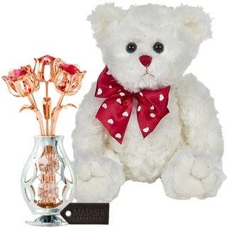 "Matashi KTMTFLT56 Rose Gold and Chrome Plated Flowers Bouquet Bearington Lil' Plush Stuffed 11"" Animal Teddy Bear, White"