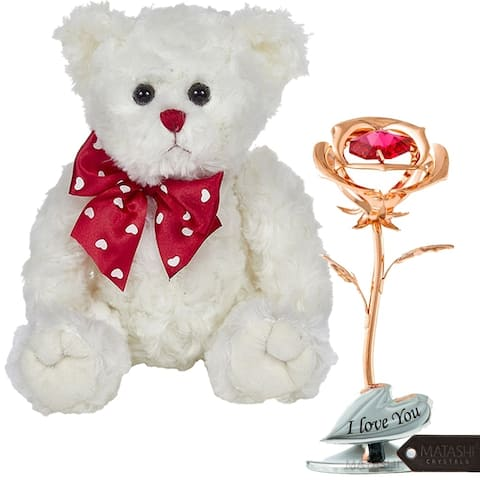 Rose Gold Plated Rose Flower with Plush Teddy Bear