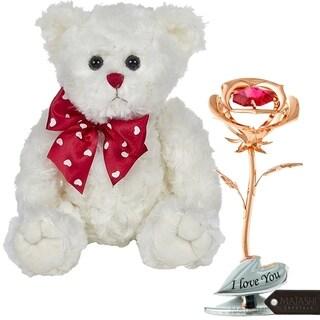 Matashi KTMTFLT46 Rose Gold Plated Rose Flower Tabletop Ornament, Lovable Plush Stuffed Animal Teddy Bear, White