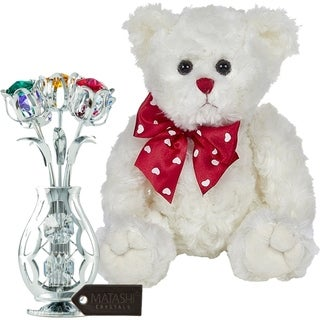 "Matashi KTMTFLT57 Chrome Plated Flowers Bouquet and Colorful Crystals Plush Stuffed  11"" Animal Teddy Bear, White - 11 Inch"
