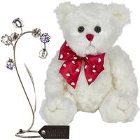 "Matashi KTMTFLT58 11"" Plush Stuffed Animal Teddy Bear, Black Metal Crystal Flower Table Ornament (White) - 11 Inch"