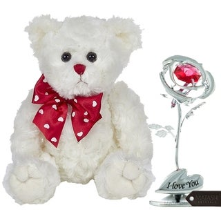 Matashi KTMTFLT47 Plush Stuffed Animal Teddy Bear Chrome Plated Silver Rose Flower Tabletop Ornament w/Red Crystals