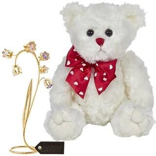 "Matashi KTMTFLT60 Bearington Lil' Lovable 11"" Plush Stuffed Animal Teddy Bear, 24k Gold Plated Crystal Flower (White) - 11 Inch"