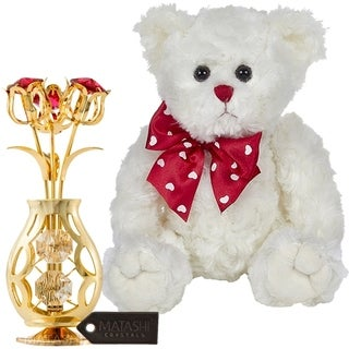 "Matashi KTMTFLT65 11"" Plush Stuffed Animal Teddy Bear, White 24k Gold Plated Flowers Bouquet Red & Clear Crystals - 11 Inch"